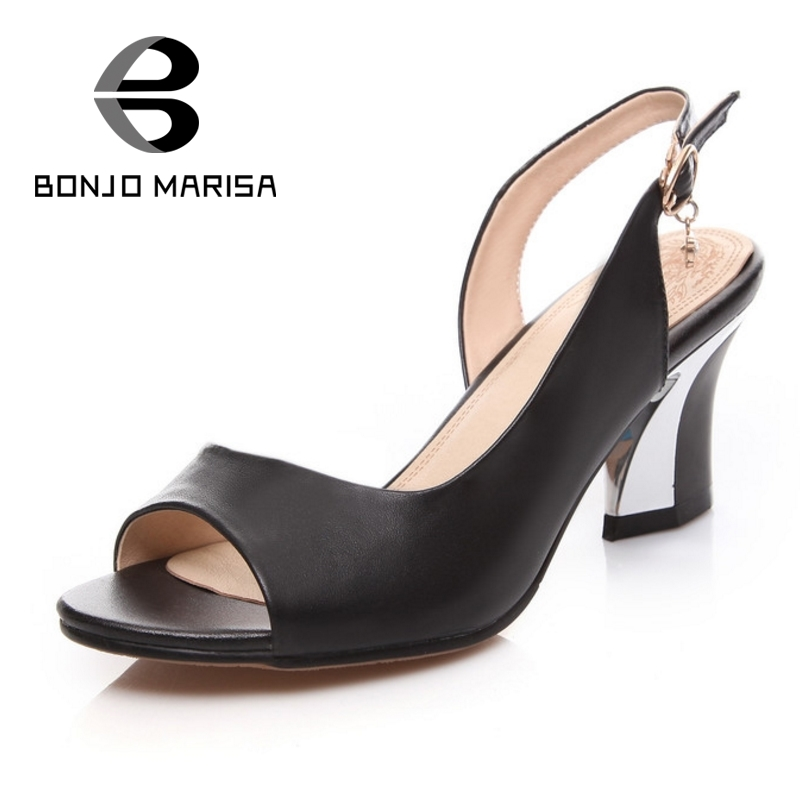 ФОТО BONJOMARISA Size Big 33-44 Nature Leather Women Sandals Summer Ladies Chunky High Heels Peep Toe Platform Woman Shoes