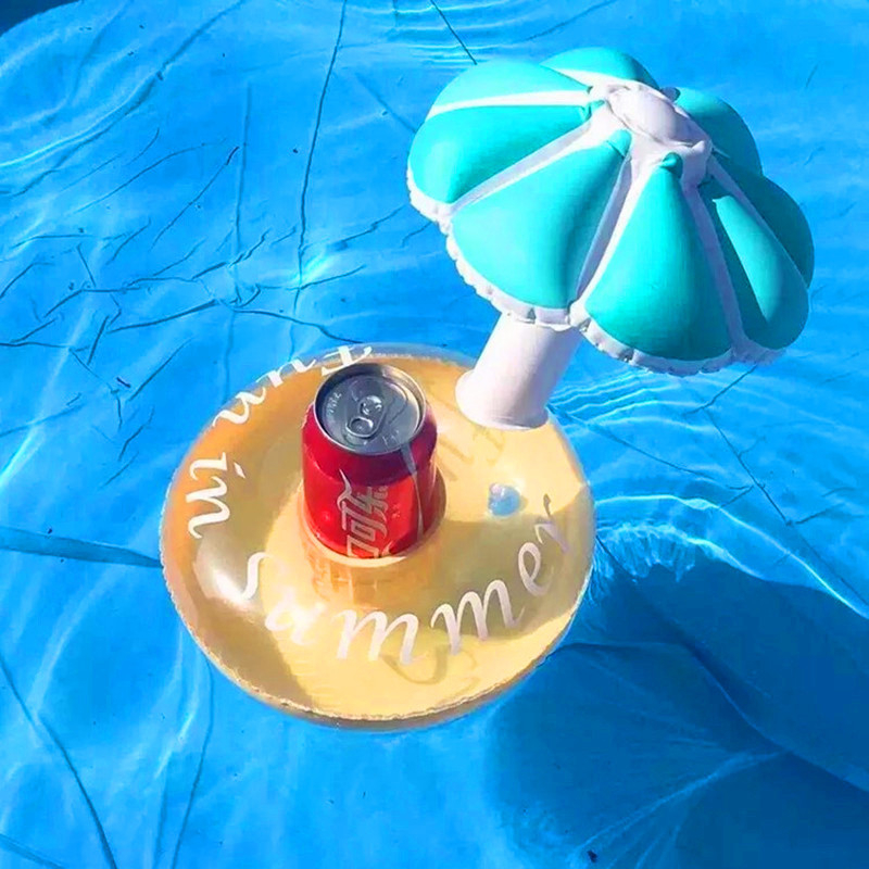 Pvc Mushroom Inflatable Coaster Pink And Blue Umbrella Inflatable High Quality Cup Seat Coaster Floating Cup Holder jooyoo in Air Mattresses from Sports Entertainment