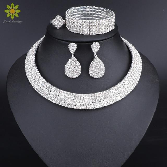 סטי תכשיטי כלה גביש צמיד עגילי ריינסטון שרשרת צבע כסף תכשיטי טבעת נישואים אירוסין סטים לנשים