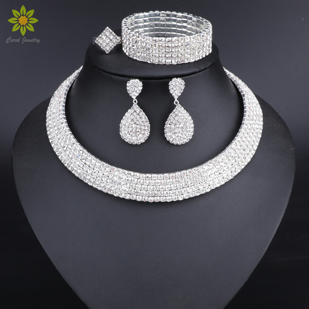 Crystal Bridal Jewelry Sets Silver Color Rhinestone Necklace Earrings Bracelet Ring Wedding Engagement Jewelry Sets for Women viennois new blue crystal fashion rhinestone pendant earrings ring bracelet and long necklace sets for women jewelry sets