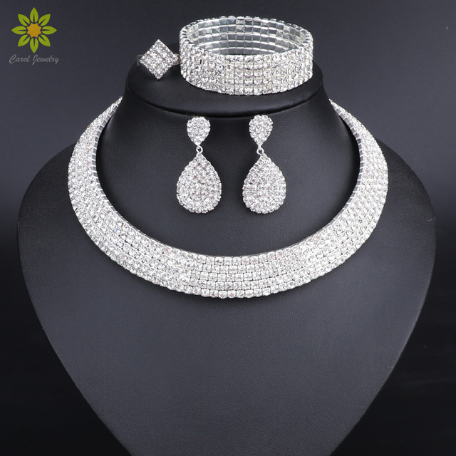 Crystal Bridal Jewelry Sets Silver Color Rhinestone Necklace Earrings Bracelet R
