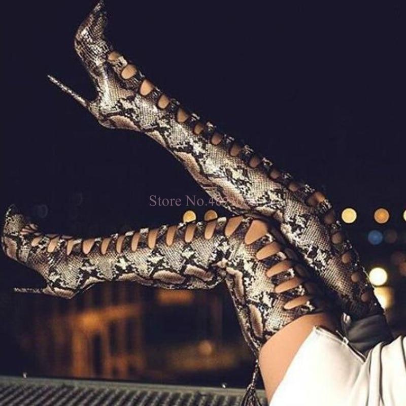 En Découpes Pour Sexy Toe Fringe Femmes Les Peep 2019 D'équitation Hauts Picture Daim as Bottes As Serpent Talons Sandale Lacets Cuissardes Picture Gland À YFpxwp67Cq