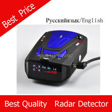 Car Anti speed Radar Detector English& Russia Option V7  Blue and Red color Free Shipping