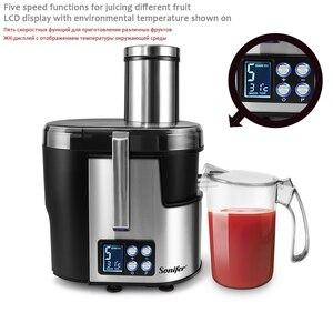 Image 3 - Machine à boire électrique de Fruit dextracteur de jus de laffichage 220V daffichage à cristaux liquides de presse agrumes dacier inoxydable de 5 vitesses pour le Sonifer à la maison