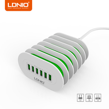 LDNIO Universal USB Charger EU/US/UK Plug Travel Wall Charger Adapter Smart Mobile Phone 6 Ports Charger for iPhone X