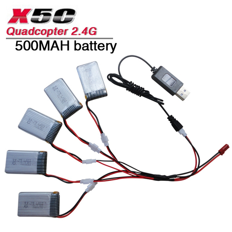 X5C X5SC X5SW X5C-1 rc quadcopter spare parts set x5c Li-po <font><b>battery</b></font> <font><b>3.7V</b></font> <font><b>500mah</b></font> 20C with/without USB cable charger image