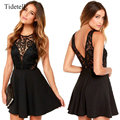 Scoop Neck Spaghetti Strap Sleeveless Above-Knee 2017 Women Dresses Lace See-Through Open Back Party Dress Hollow Sexy Dress