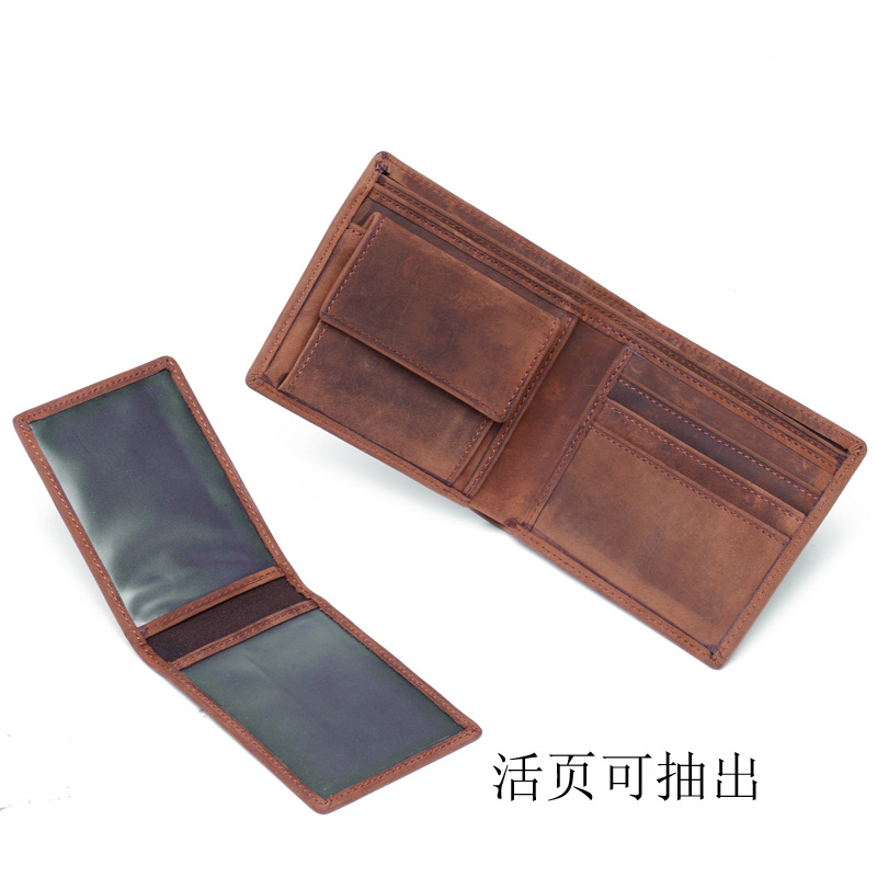 Mens crazy horse leather wallet skin cowboy bag, foreign trade express export, a replacement B199