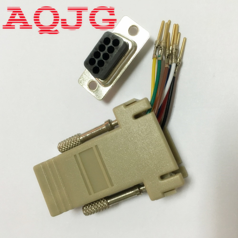 DB9 Male to RJ45 Male M/M RS232 Modular Adapter Connector Extender Convertor DB9 Male to RJ45 wholesale RS232 AQJG