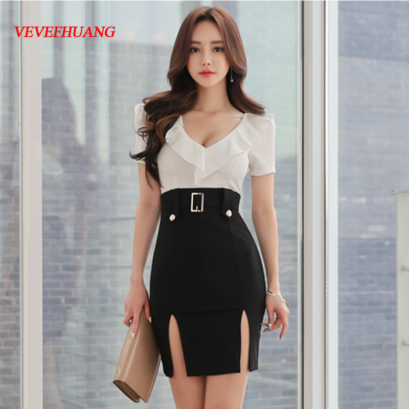2018 New Summer Women dress Patchwork Black And White Hip Deep V Dresses L0858