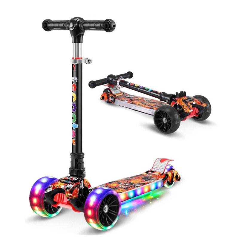 Scooter de coup de pied des enfants pliant alliage d'aluminium planche à roulettes réglable en hauteur clignotant lumière roue pied Scooter jouets cadeaux