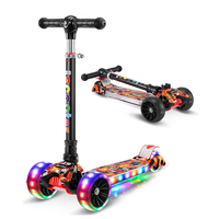 Children's kick scooter folding Aluminum alloy kids skateboard Adjustable Height Flashing Light Wheel Foot Scooter Toys Gifts