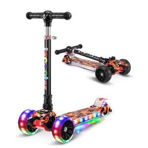 Children's kick scooter folding Aluminum alloy kids skateboard Adjustable Height Flashing Light Wheel Foot Scooter Toys Gifts(China)