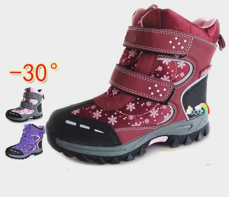 Хорошая 1 пара водонепроницаемые теплые детские зимние ботинки для девочек зимние лыжные ботинки + внутренняя натуральная шерсть модные детские ботинки