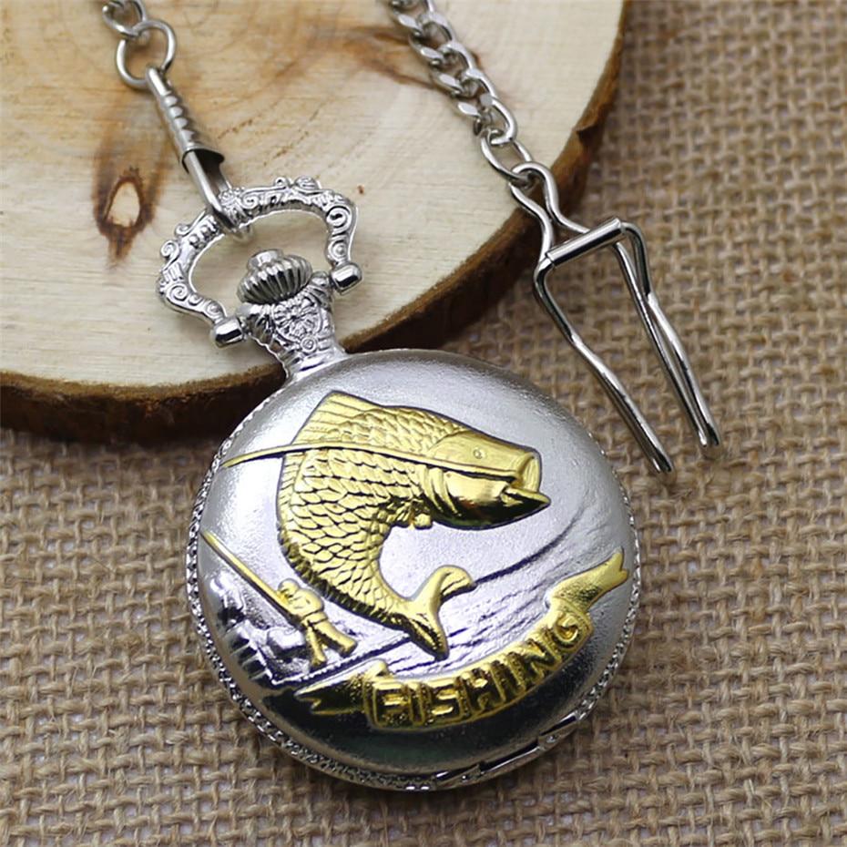 Vintage Pocket Watch Quartz Pocket Chain Necklace Pendant Clock Fish Design Full Hunter Fob Pocket Clock Gifts For Mens Reloj