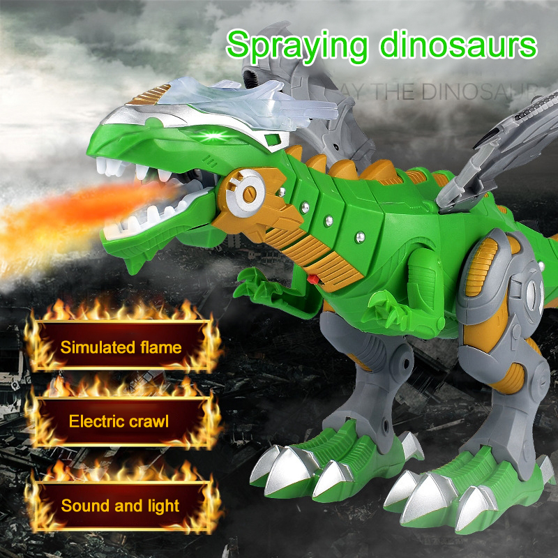 Electric Interactive Dinosaurs Toys Shocking Talking Walking Spray Fire Dragon Dinosaur Robot With Light Sound Toys For Kids