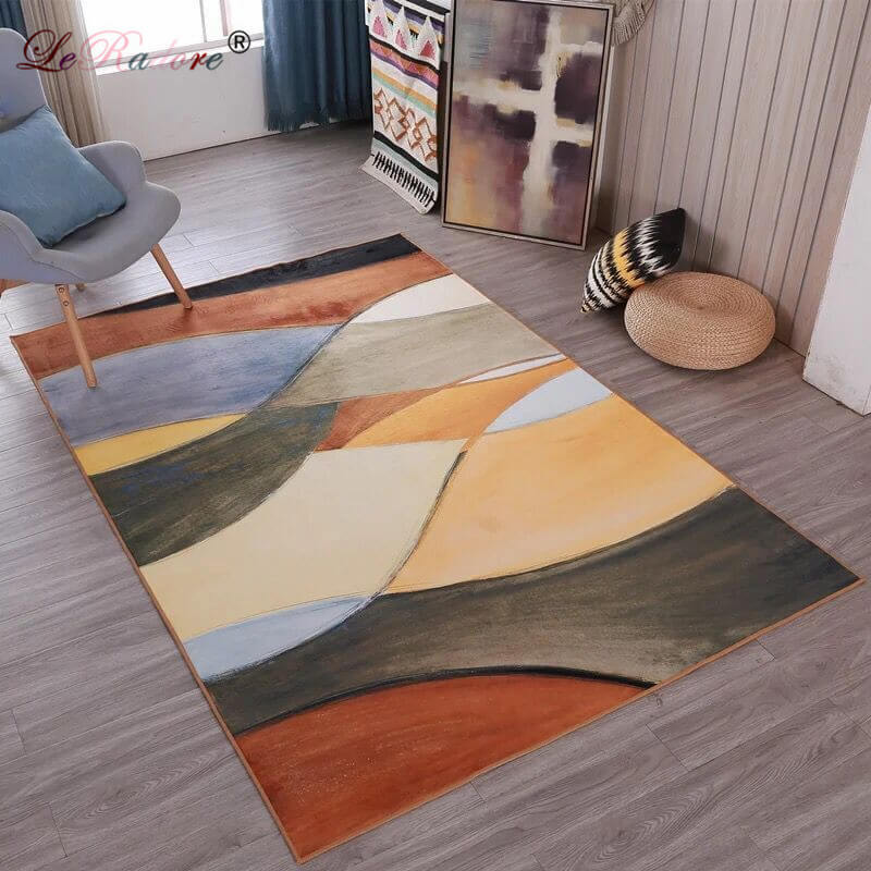 LeRadore Modern Style Geometric Printed Floor Rug Bedroom Mat Ant-slip Home Decor Antistat Carpet For Living Room 200*300cm