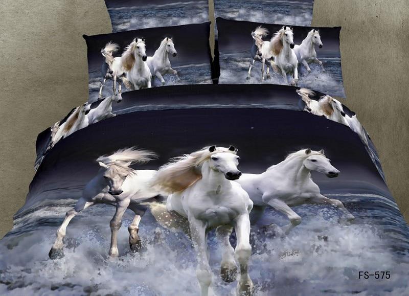 Charmant Parure De Couette Cheval #6: 3d Cheval Blanc Ensemble De Literie 100 Coton 4 Pcs L Huile Impression  Animal Couette Housse