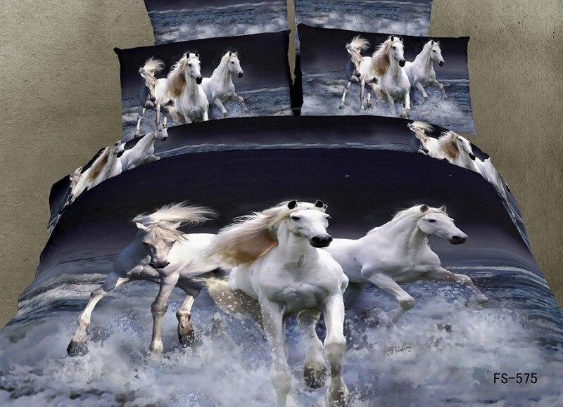 wonderful housse de couette cheval 2 personnes #7: 3d cheval blanc