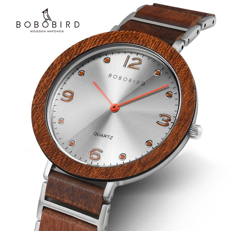 울트라 얇은 6mm 보보 버드 연인의 시계 럭셔리 세련된 나무 석영 손목 시계 계시기 reloj hombre 선물 상자 V-S16