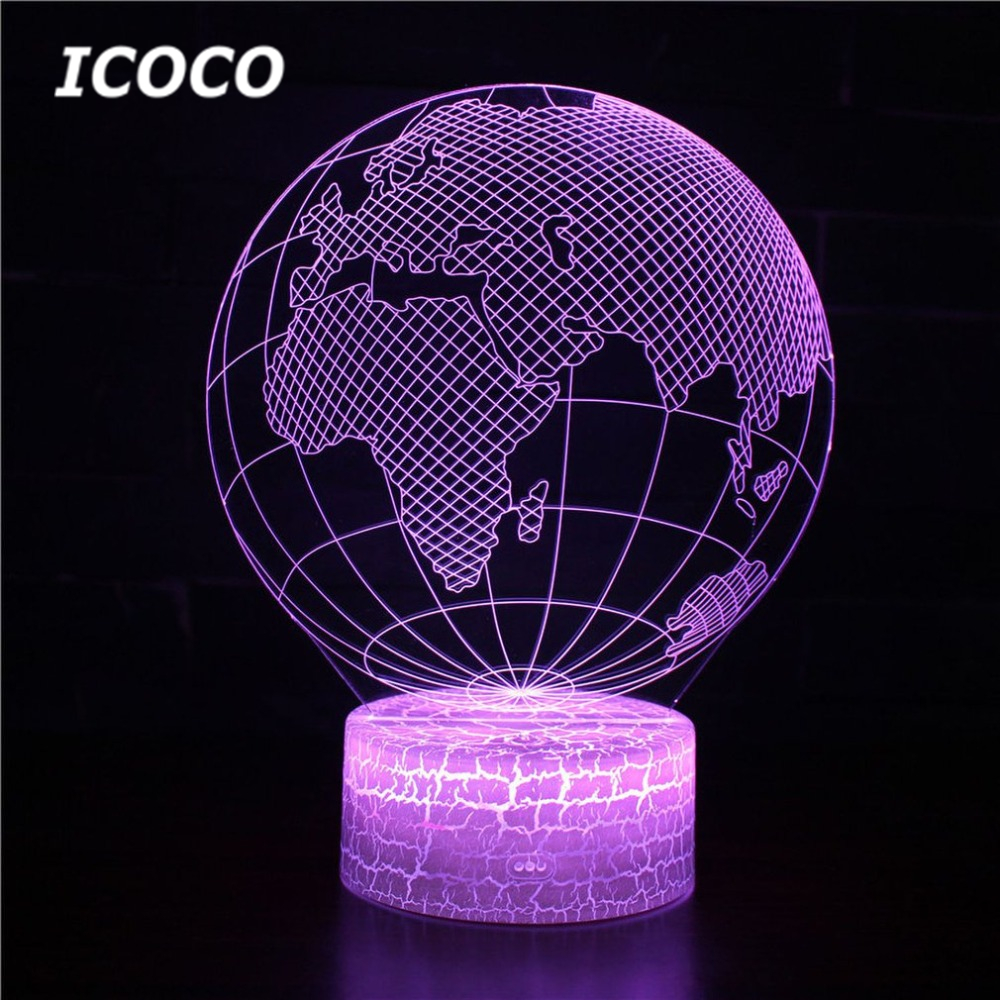 ICOCO Globe Series Acrylic Panel Design 3D LED Night Light illusion Table Desk Lamp Christmas Gift for Child Kids Home Decor image