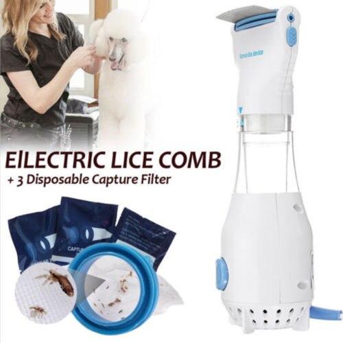 Head Vacuum Lice comb Electric Capture Pet Filter Lice Treatment מסרק כינים
