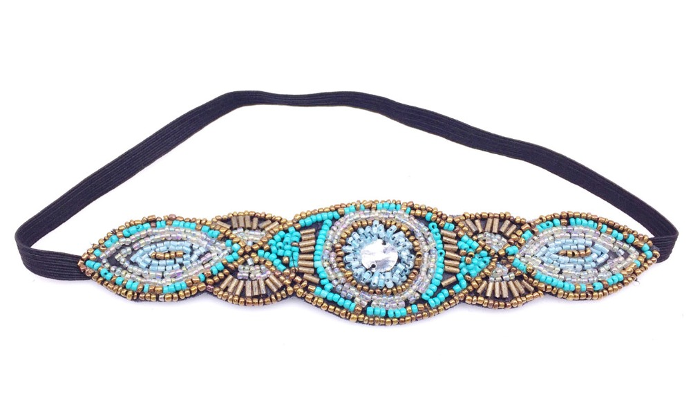 Metting Joura Vintage Bohemian Ethnic Tribal Blue Tube Seed Beads Handmade Elastic Headband Hair Band Design Hair Accessories vintage bohemian ethnic colored tube seed beads flower rhinestone handmade elastic headband hair band hair accessories