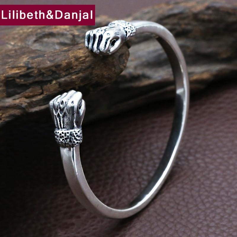 Men s Bangle 100 Real 925 sterling silver Creative Fist Bracelet for Men Bangle Male Christmas