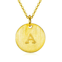 925 Sterling Silver Jewelry Fashion Gold Color Round A Z Letter Pendant Necklace Initial Alphabet Necklaces