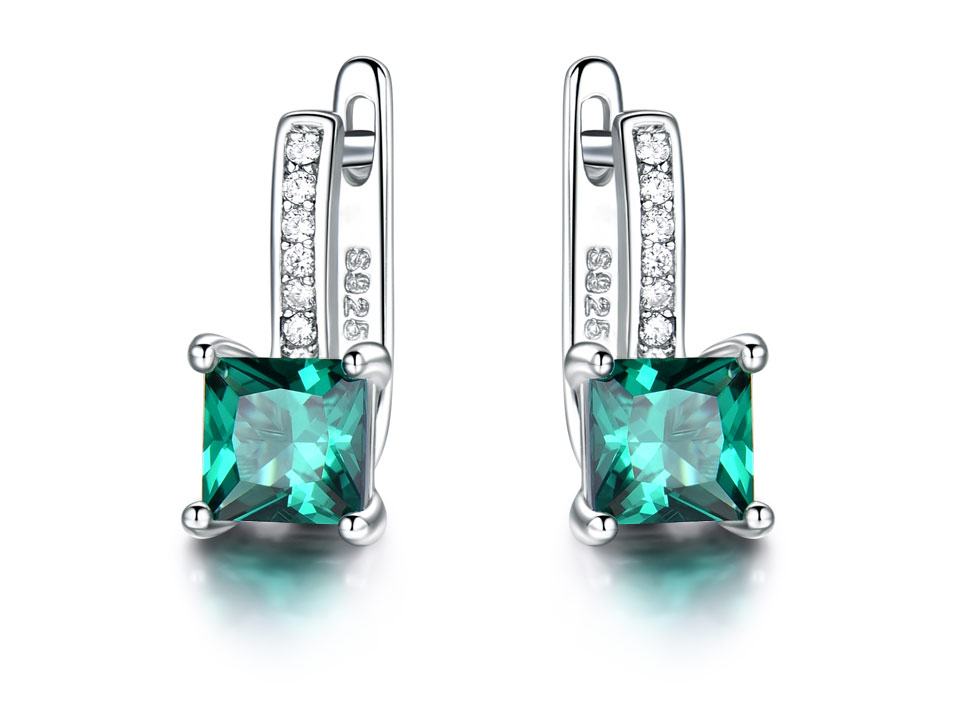 HTB1iVO4XLvsK1RjSspdq6AZepXaE UMCHO Created Green Emerald Gemstone Clip Earrings For Women Solid 925 Sterling Silver Anniversary Gifts For Women Accessories