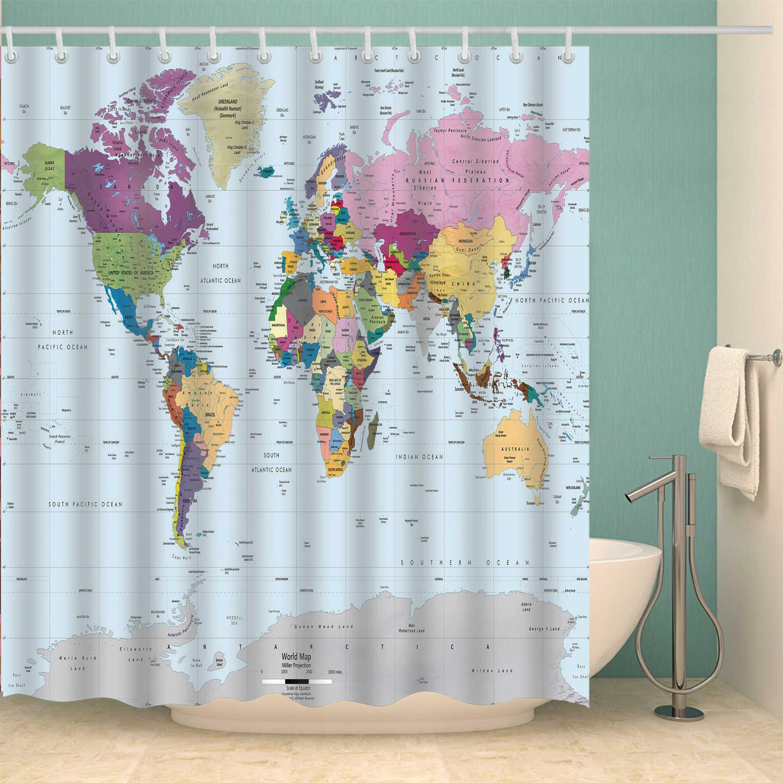 Mappa Del Mondo di impermeabile Tenda Della Doccia Per Bagno Vasca Da Bagno Tende Extra lungo 180*200 centimetri 3D Blackout tenda della Doccia