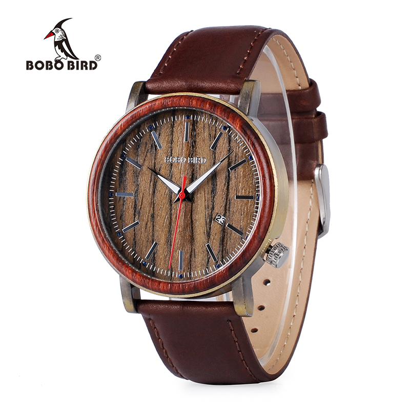 BOBO BIRD Luxury Mens Wood Watches Genuine Leather Band Wooden Wristwatch Japan Move' Quartz Male Relogio C-O27 DROP SHIPING стимулятор роста для семян и рассады агрикола 20 мл