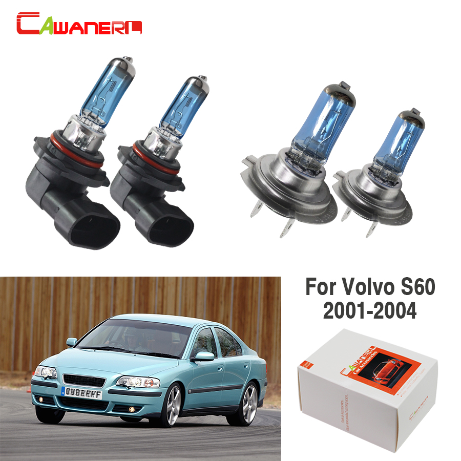 Cawanerl 2 Pair 100W H7 + 9005 Car Light Source Headlight Halogen Bulb 4300K Warm White For Volvo S60 Sedan 2001-2004
