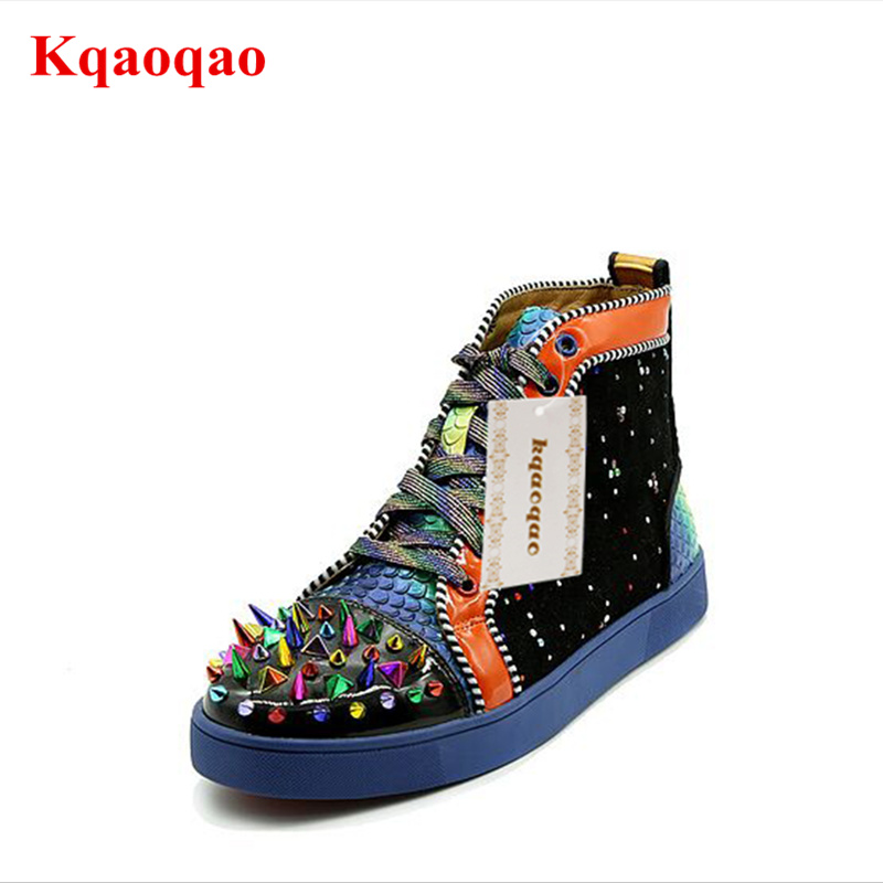 все цены на Colorful Rivets Embellished Men Casual Shoes High Top Leather Men Sneakers Spike Shoes Brand Design Front Lace Up Shoes Flats