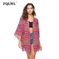 FQLWL Floral Print Long Kimono Cardigan 2018 Summer Half Sleeve Boho Blusas Mujer Loose Red Beach