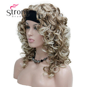 Image 3 - StrongBeauty Dâu Tóc Vàng mix Tóc Vàng Đầu 3/4 tóc giả với Đầu Tổng Hợp Xoăn Dài nữ tóc giả