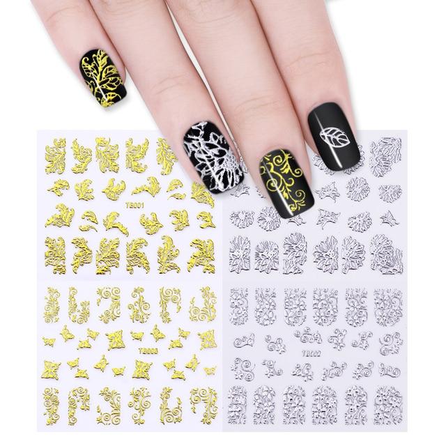 12 Sheets Metallic Hollow Gold Silver 3D Nail Art Stickers Flower ...