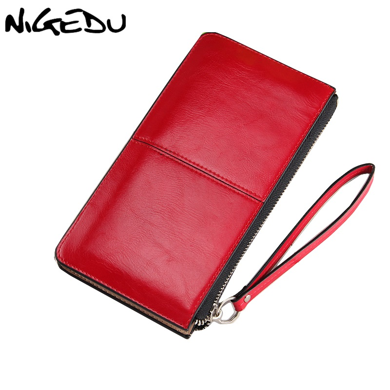 NIGEDU brand Oil wax leather Women clutch wallet Long zipper wallets female candy color purse lady Multi-function phone bag new oil wax leather men s wallet long retro business cowhide wallet zipper hand bag 2016 high quality purse clutch bag
