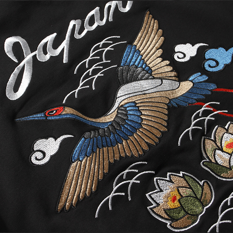 Black Crane Embroidery Casual Hoodies Men 2019 Thick Autumn Winter Chinese Style Sweatshirts Cotton Clothing Couple Streetwear in Hoodies amp Sweatshirts from Men 39 s Clothing