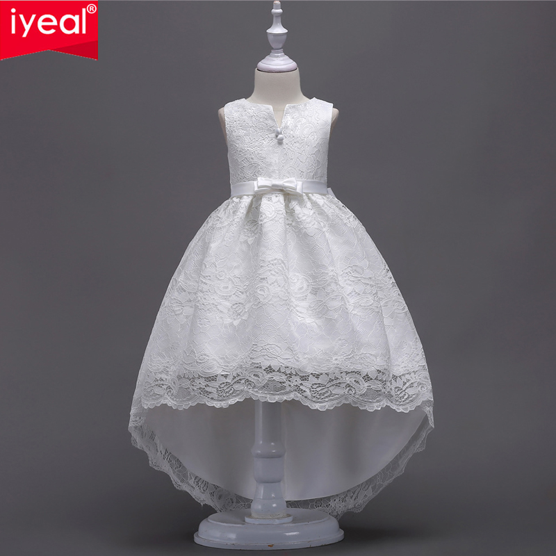 IYEAL Pretty High Low Lace Appliques Flower Girl Dresses Kids Evening Gowns For Wedding First Communion Dress Vestido Comunion lace high low swing evening party dress