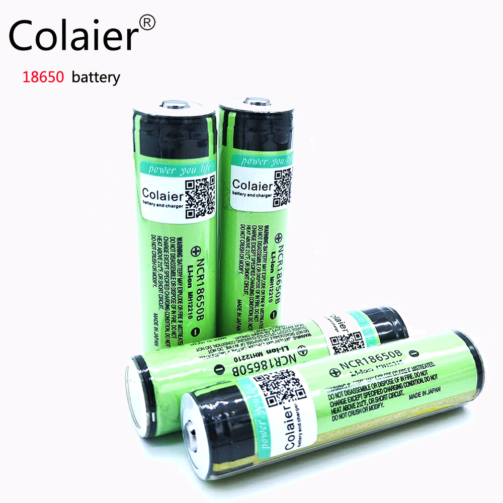 2017 Colaier New protected  For panasonic 18650 3400mah battery NCR18650B chargeable battery 3.7 V PCB Free Shopping