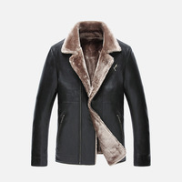2016 New Winter Coat Men Fur Men S PU Leather Jacket Men Fashion Velvet Motorcycle Business