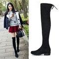 Novas Mulheres Botas Esticar Ao Longo Do Joelho Botas de Inverno Com Pele Preto coxa Botas Altas Sapatos de Mulher Tamanho Grande Dedo Do Pé Redondo Botas de Inverno preto