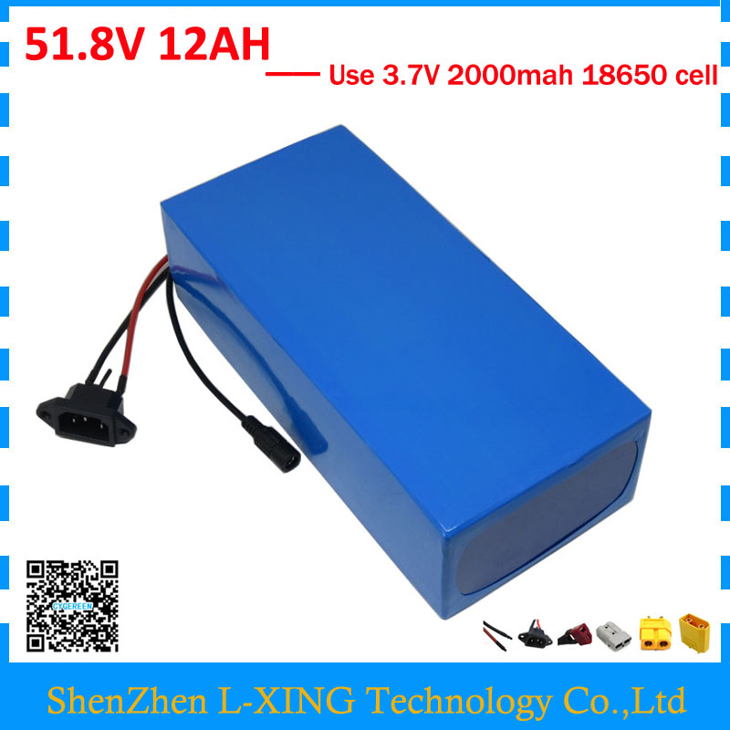 500W 750W 51.8V 12AH 14S lithium battery 52V 12AH Electric bike battery 52V ebike battery with 15A BMS 58.8V 2A Charger pasion e bike 52v 12 8ah battery lg 18650 cell li ion electric bike battery hailong 52v cycling lithium battery with 2a charger