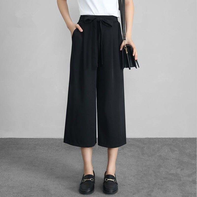 Women Casual   Wide     Leg     Pants   New Fashion Office Lady Solid High Waist Chiffon   Pants   2019 Summer Loose Calf-Length Trousers Slim