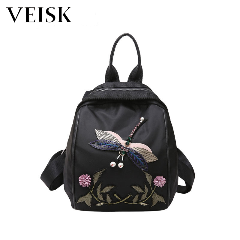 VEISK Embroidery Women Black Backpack Animal Suede Backpacks For Teenage Girls Shoulder School Bags Travel Backbags Mochila