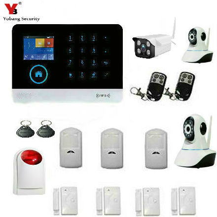 YobangSecurity Wireless Wifi GSM SMS Home Burglar Security Alarm System Wireless Siren Outdoor Indoor IP Camera ANDROID IOS APP etiger s3b etiger gsm sms alarm system solar power siren indoor siren ip camera super kit as same as chuango g5
