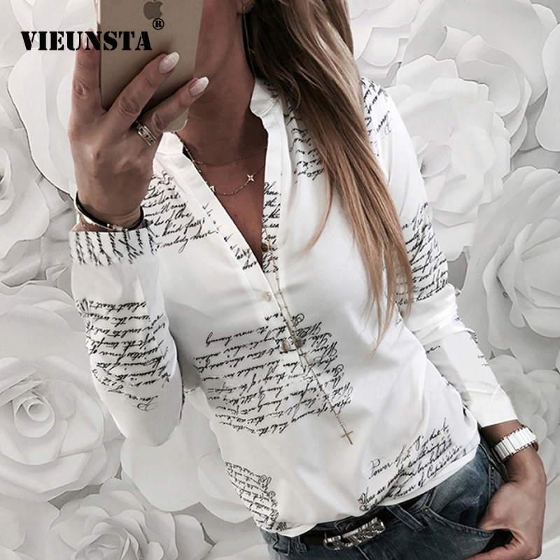 VIEUNSTA Women Fashion V Neck Long Sleeve Sexy Beach   Blouse     Shirts   Casual Letters Printed Tops Slim Fit   Shirts   Plus Size Blusas