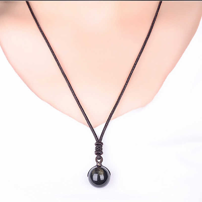 Dropshipping Black Gold Natural Obsidian Stone Pendant Lucky Transfer Beads Pendant Necklace male female Lovers Fashion Jewelry
