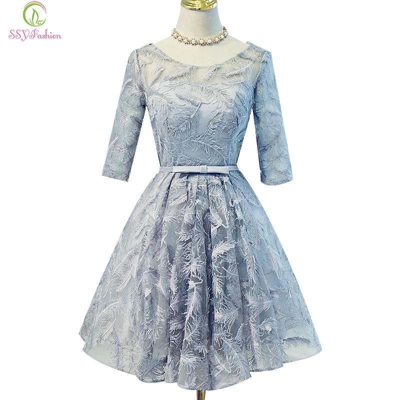 SSYFashion New Short   Cocktail     Dress   Bride Banquet Elegant Grey Lace Half Sleeved Knee-length Party Gown Formal   Dress   Custom